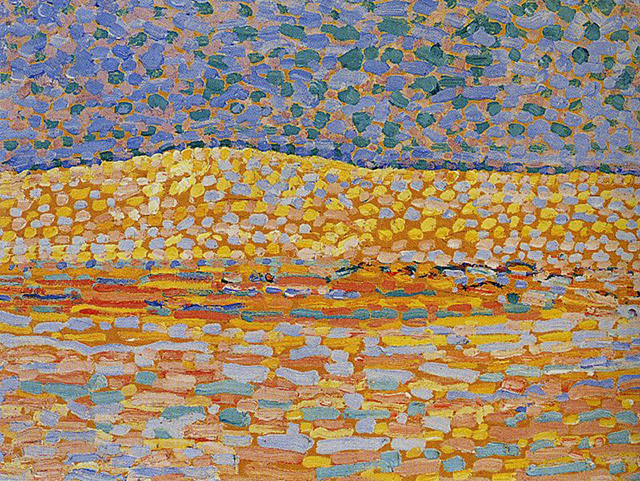 Piet Mondrian Pointillist Dune Study, Crest at Left, 1909